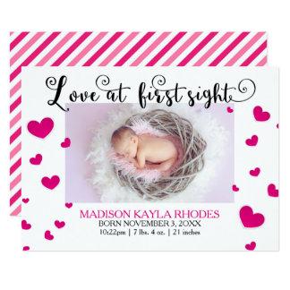 Rosa Herz-Liebe an erster Anblick-Geburt 12,7 X 17,8 Cm Einladungskarte