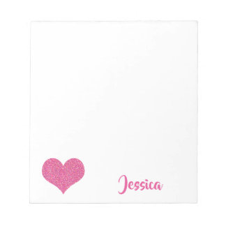 Rosa Herz-personalisierter Girly Name Notizblock