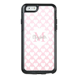 Rosa Herz-süßer Girly Monogramm-Name OtterBox iPhone 6/6s Hülle