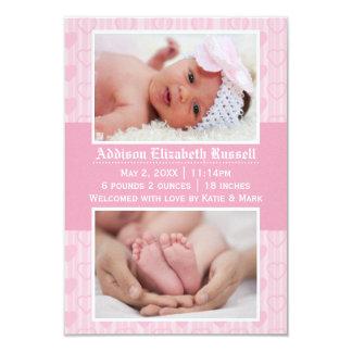Rosa Herzen 2 Fotos - Mitteilung der Geburts-3x5 8,9 X 12,7 Cm Einladungskarte