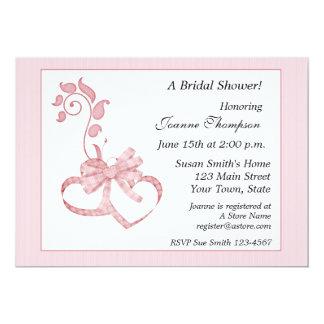 Rosa Herzen blühen Brautparty-Einladung 12,7 X 17,8 Cm Einladungskarte