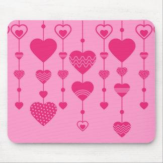rosa Herzen Mauspads