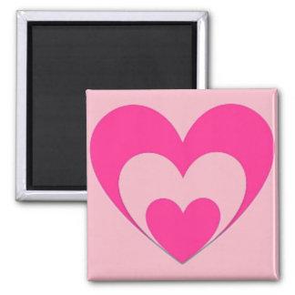 Rosa Herzen Quadratischer Magnet