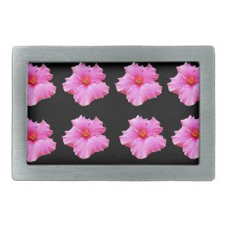 Rosa Hibiskus-Blumen auf Schwarzem, _ Rechteckige Gürtelschnalle