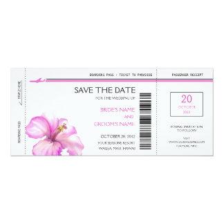 Rosa Hibiskus-Boarding-Durchlauf-Save the Date 10,2 X 23,5 Cm Einladungskarte
