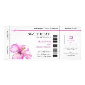Rosa Hibiskus-Boarding-Durchlauf-Save the Date Personalisierte Einladungskarten