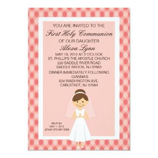 Rosa hübsche erste Kommunions-Mädchen-Einladung 12,7 X 17,8 Cm Einladungskarte