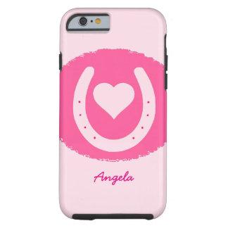 rosa Hufeisen und Herz Tough iPhone 6 Hülle