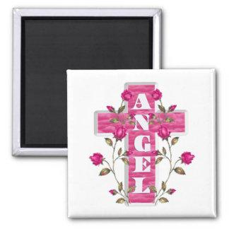 Rosa im Gedächtnis-Engels-Magneten Quadratischer Magnet
