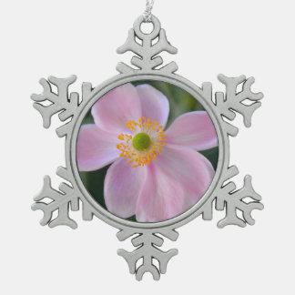 Rosa japanische Anemonen-Blume Schneeflocken Zinn-Ornament
