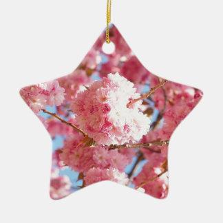 Rosa japanische Kirschblüte Keramik Stern-Ornament