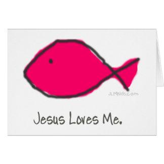 Rosa Jesus-Fische Karte
