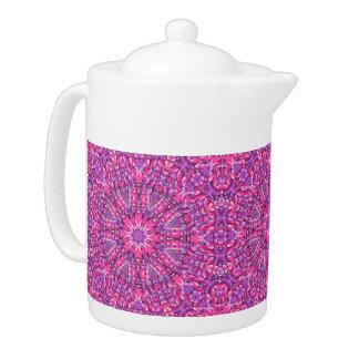 Rosa Kaleidoskop-Muster-Teekannen n lila