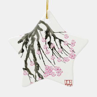 Rosa Kirschblüte 24, Tony Fernandes Keramik Stern-Ornament