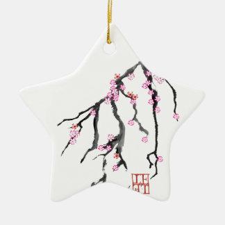 Rosa Kirschblüte 28, Tony Fernandes Keramik Stern-Ornament