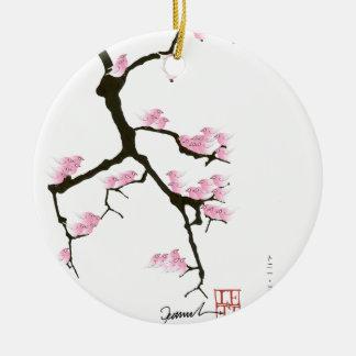 rosa Kirschblüte und Vögel, tony fernandes Rundes Keramik Ornament