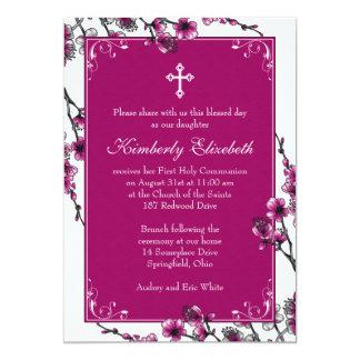 Rosa Kirschblüten-erste Kommunions-Einladung 12,7 X 17,8 Cm Einladungskarte