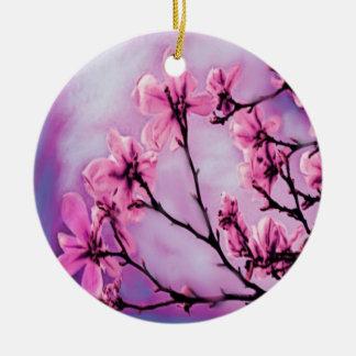 Rosa Kirschblüten Rundes Keramik Ornament