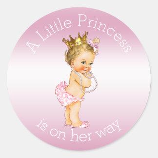 Rosa kleine Babyparty Prinzessin-Pearls Runder Aufkleber