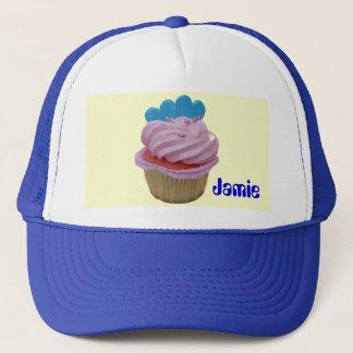 Rosa kleiner Kuchen mit blauen Herzen Truckerkappe