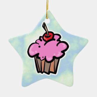 Rosa kleiner Kuchen mit Kirsche Keramik Ornament