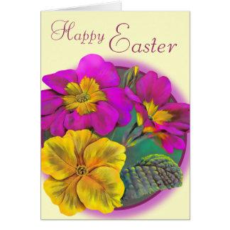 Rosa Kunstsahnekarte Primula-glückliche Ostern Grußkarte