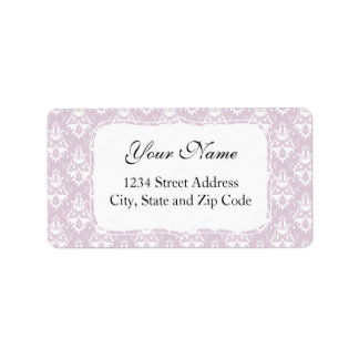 Rosa Lavendel-Damast-Muster Adressaufkleber