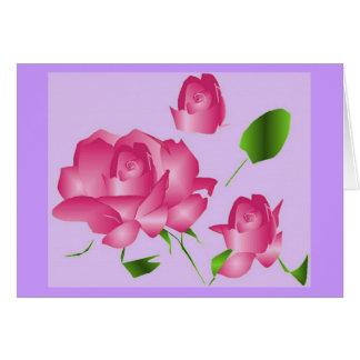 Rosa Lavendel-Rosen- Anmerkungs-Karte