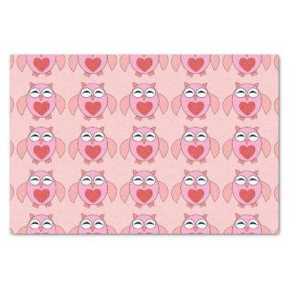 Rosa Liebe-Herz-Eulen-Seidenpapier Seidenpapier