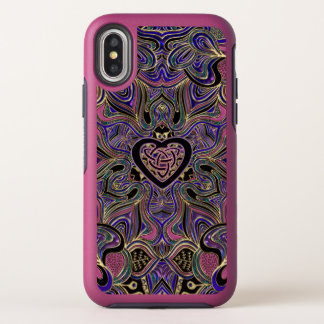 Rosa lila Goldkeltischer HerzMandala iPhone Fall OtterBox Symmetry iPhone X Hülle