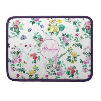 Rosa lila rote gelbe Wildblumen u. Rosen, Name Sleeve Für MacBooks