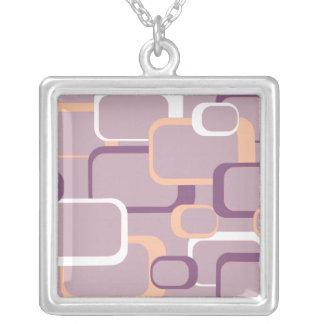 Rosa lila weiße Retro Quadrat-Halskette Versilberte Kette