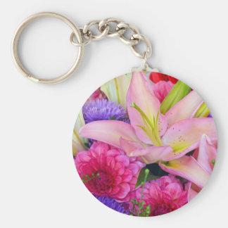 Rosa Lilien- und Dahlieblumendruck keychain Schlüsselanhänger