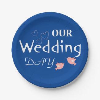 Rosa Lovebirds blau u. weiß Wedding gerade Pappteller