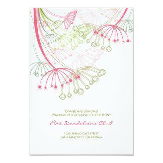 Rosa Löwenzahn-Blumen-Frühlings-Hochzeits-Empfang 8,9 X 12,7 Cm Einladungskarte
