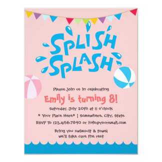 Rosa Mädchen-Sommer-Spritzen-Pool-Party-Geburtstag 10,8 X 14 Cm Einladungskarte