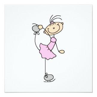 Rosa Mädchen-Strichmännchen-Eis-Skater Quadratische 13,3 Cm Einladungskarte
