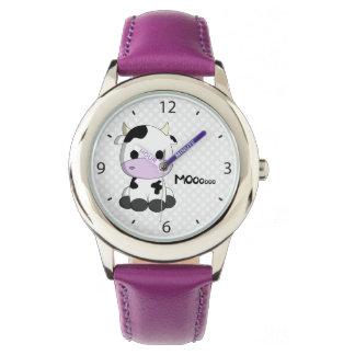 Rosa Mädchenuhr mit niedlichem Kuh-Cartoon Uhr