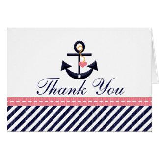 Rosa Marine-Seeanker danken Ihnen Anmerkungs-Karte Mitteilungskarte