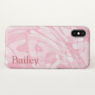 Rosa Marmornamensschablone iPhone X Hülle