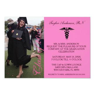 Rosa medizinische RN-SchulAbschluss-Mitteilung 12,7 X 17,8 Cm Einladungskarte