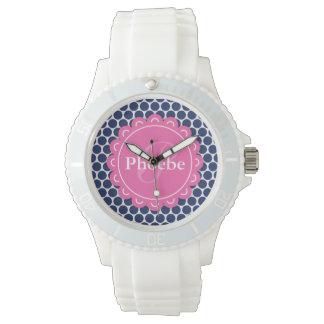 Rosa modernes Blumen-Monogramm-blaues Uhr