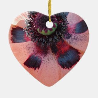 Rosa Mohnblumen-Mitte Keramik Herz-Ornament