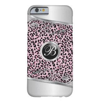 Rosa Monogramm des Leopard-und Metalldruck-| Barely There iPhone 6 Hülle