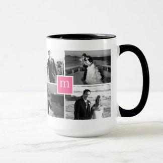 Rosa Monogramm-Foto-Collagen-Liebe Tasse