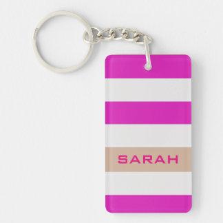 Rosa mutige Streifen mit individuellem Namen Schlüsselanhänger