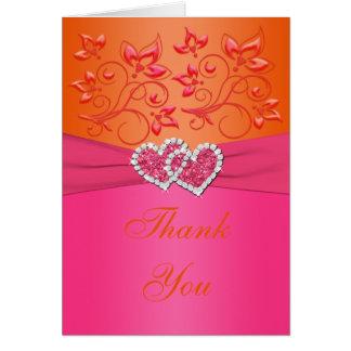 Rosa, orange verbindende Blumenherzen danken Ihnen Mitteilungskarte