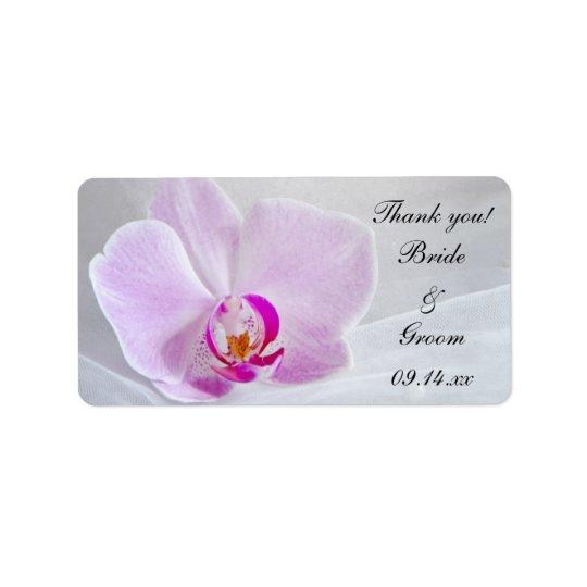 Rosa Orchidee und Schleier-Hochzeit danken Ihnen, Adressaufkleber