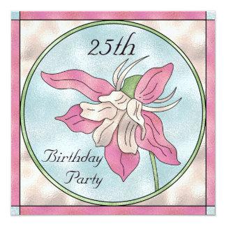 Rosa Orchideen-Fleck-Glaseffekt-25. Geburtstag Quadratische 13,3 Cm Einladungskarte