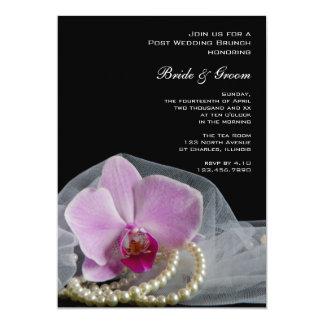 Rosa Orchideen-Perlen auf schwarzem 12,7 X 17,8 Cm Einladungskarte